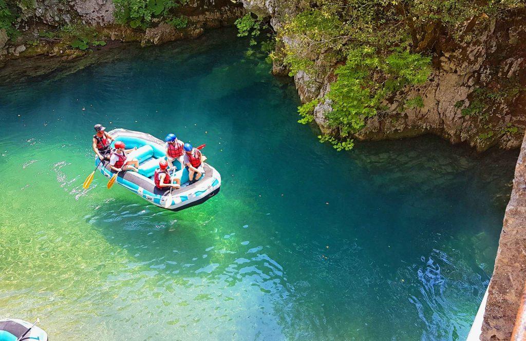Epirus. Rafting boats in Voidomatis river.